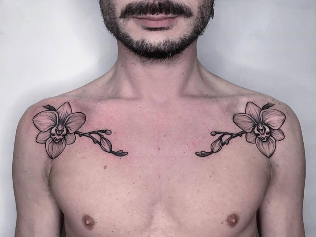Orchid Tattoos on Shoulder