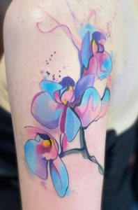 Orchid Watercolor Tattoo