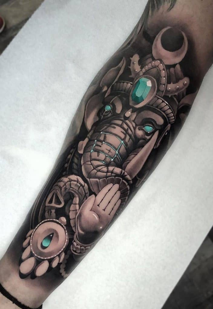 Ornamental Elephant Head Tattoo