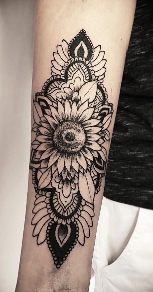 Ornamental Sunflower Tattoo