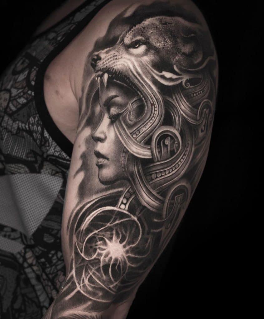 Ornamental Wolf Tattoo
