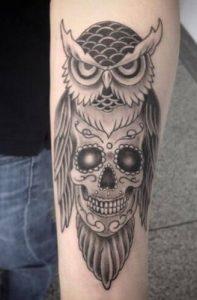 Owl and Sugar Skull Tattoo