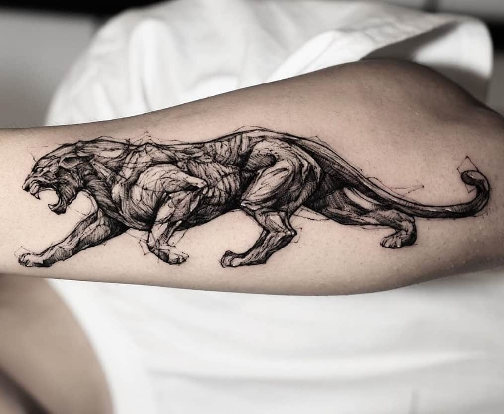 Panther Sketch Tattoo