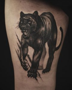 Panther Tattoo on Thigh