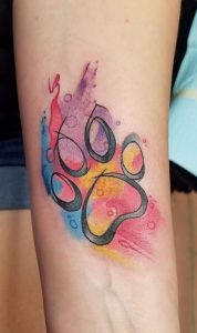 Paw Watercolor Tattoo