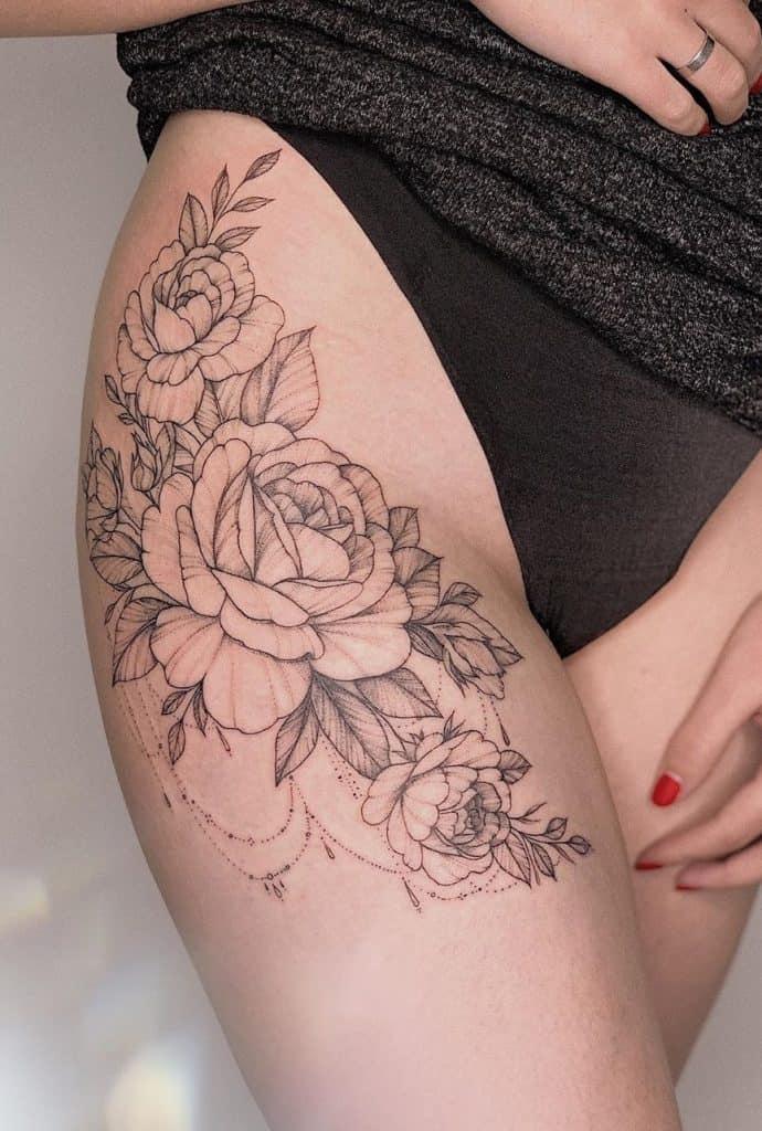 Peony tattoo the on hip