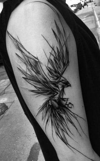 Phoenix Sketch Tattoo