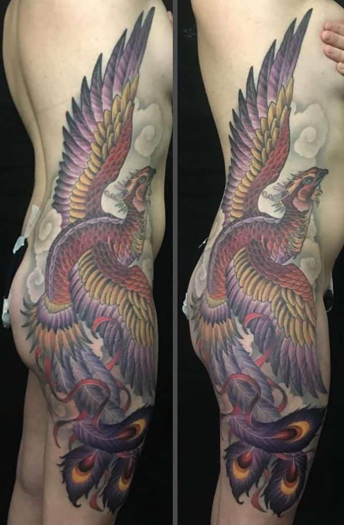 Phoenix tattoo on the hip