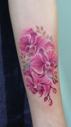 Pink Orchid Tattoo