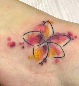 Plumeria Watercolor Tattoo