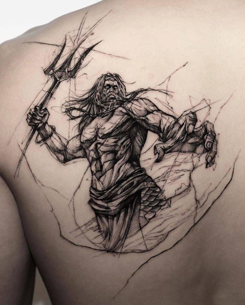 Poseidon Sketch Tattoo