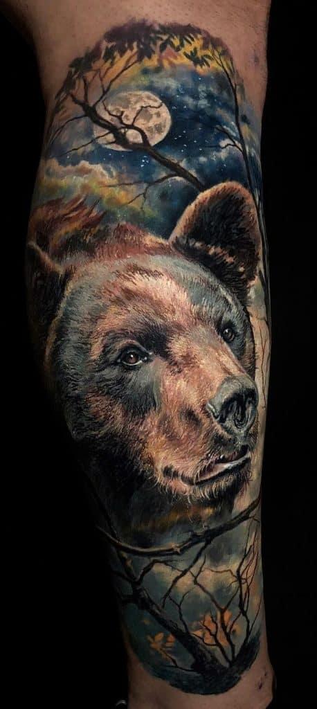 Realistic Bear Tattoo