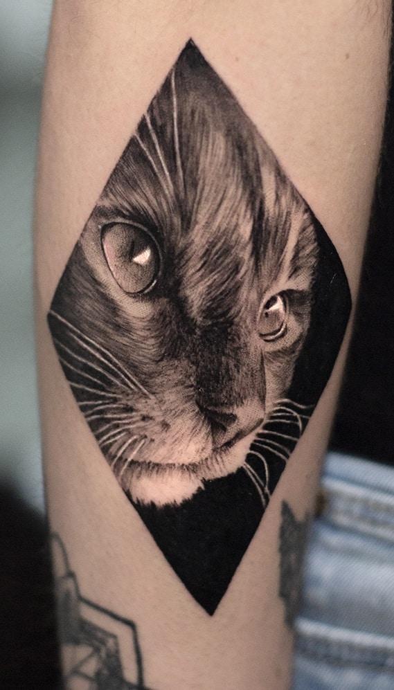 Realistic Black & Grey Cat Tattoo