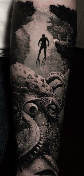 Realistic Black and Grey Octopus Tattoo