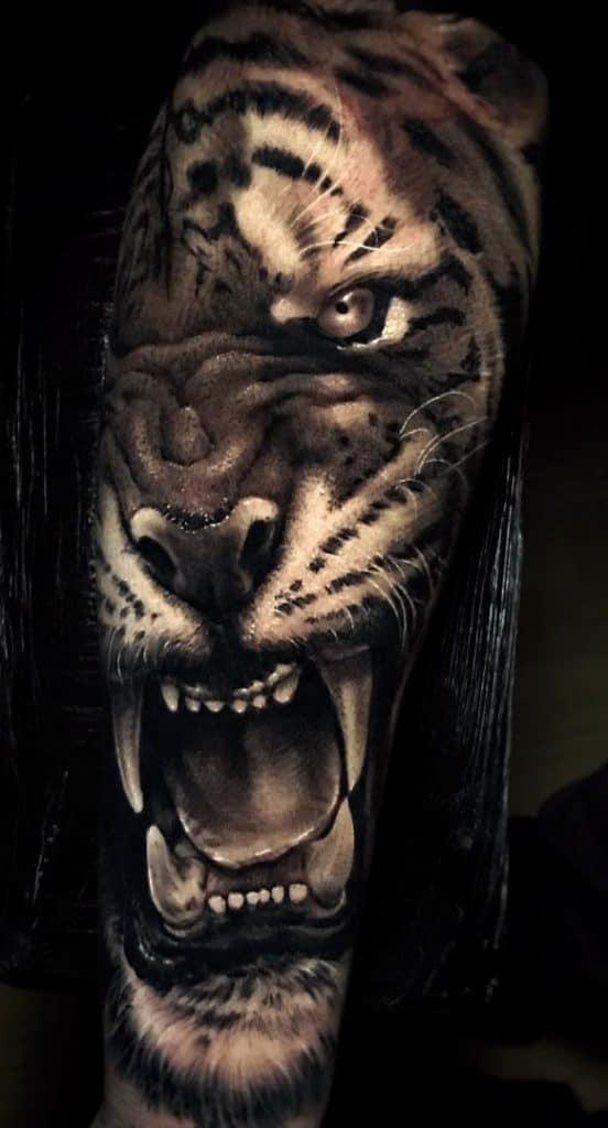 Realistic Black and Grey Tiger Tattoo