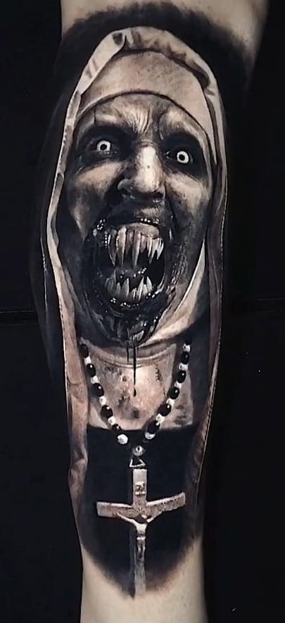 Realistic Black and Grey Valak Tattoo
