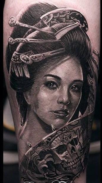 Realistic Geisha Tattoo