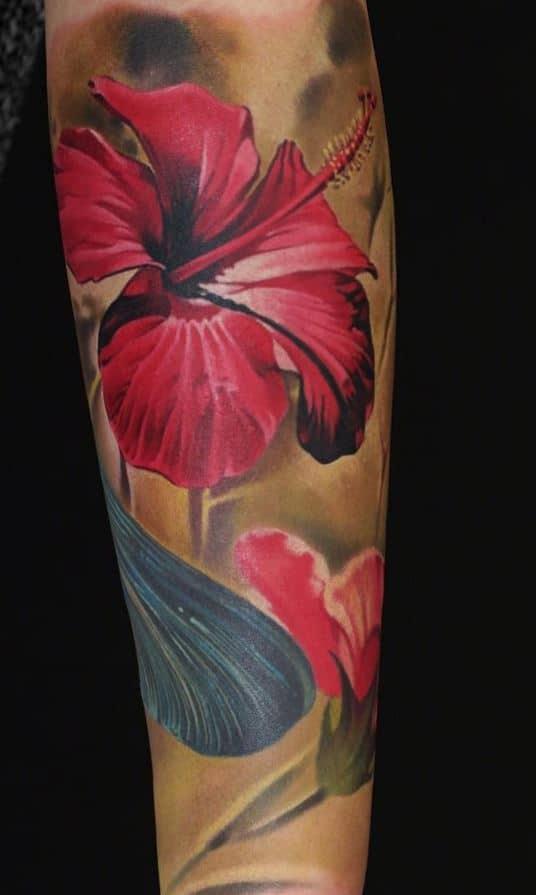 Realistic Hibiscus Tattoo