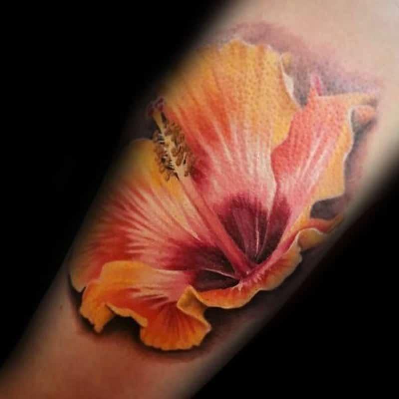 Realistic Hibiscus Tattoos