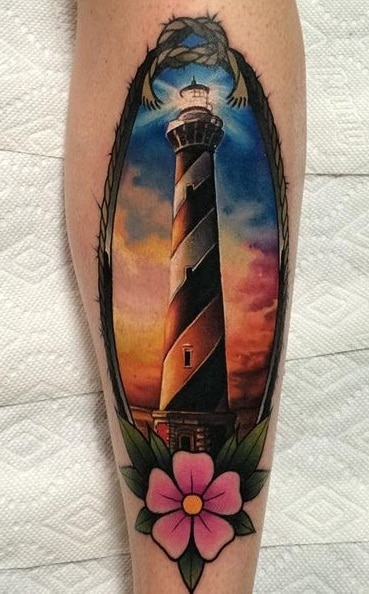 Realistic Lighthouse Tattoo