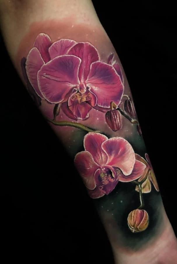 Realistic Orchid Tattoo