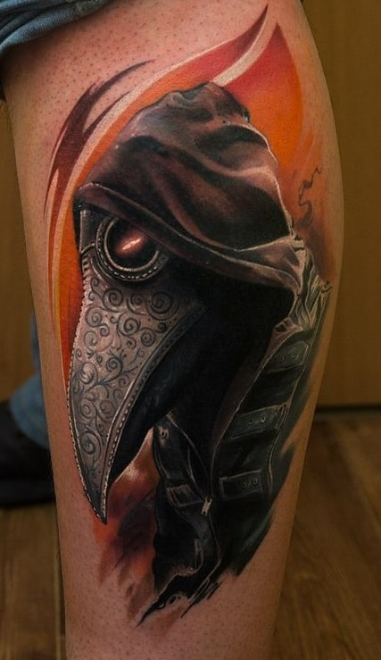 Realistic Plague Doctor Tattoo