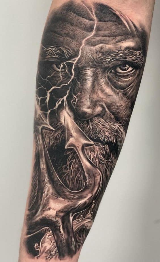 Realistic Poseidon Tattoo