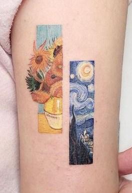 Rectangular Sunflower Tattoo