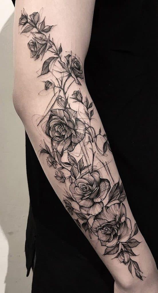 Rose Sketch Tattoo