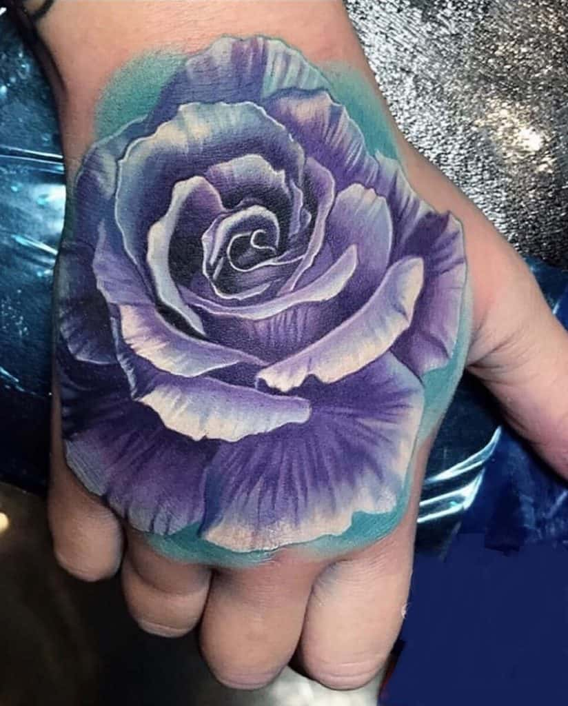 Rose Tattoo on the Back of the Hand