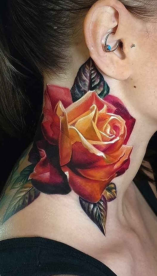 Rose Tattoo on the Neck