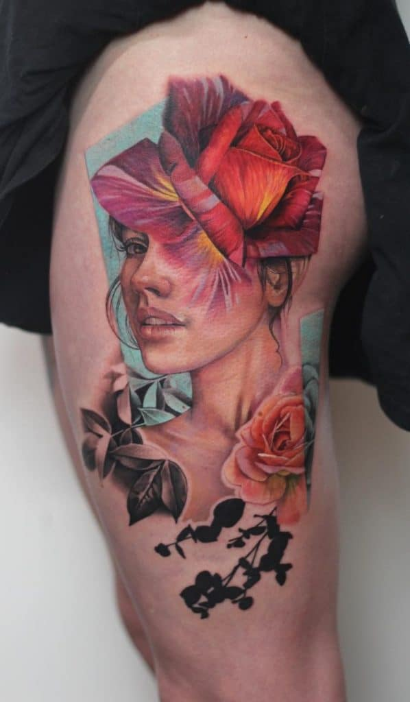 Rose Tattoo on the Thigh