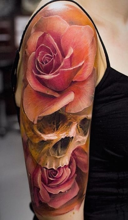Rose Tattoo on the Upper Arm