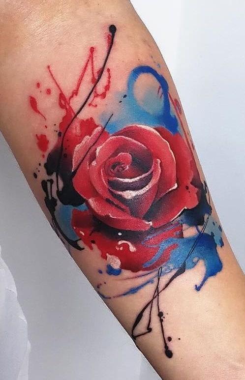 Rose Watercolor Tattoo