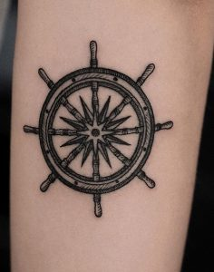 Ship Wheel and Compass Tattoo