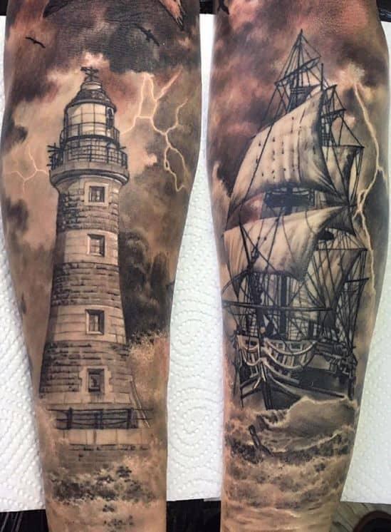 Ship and Lighthouse Tattoo