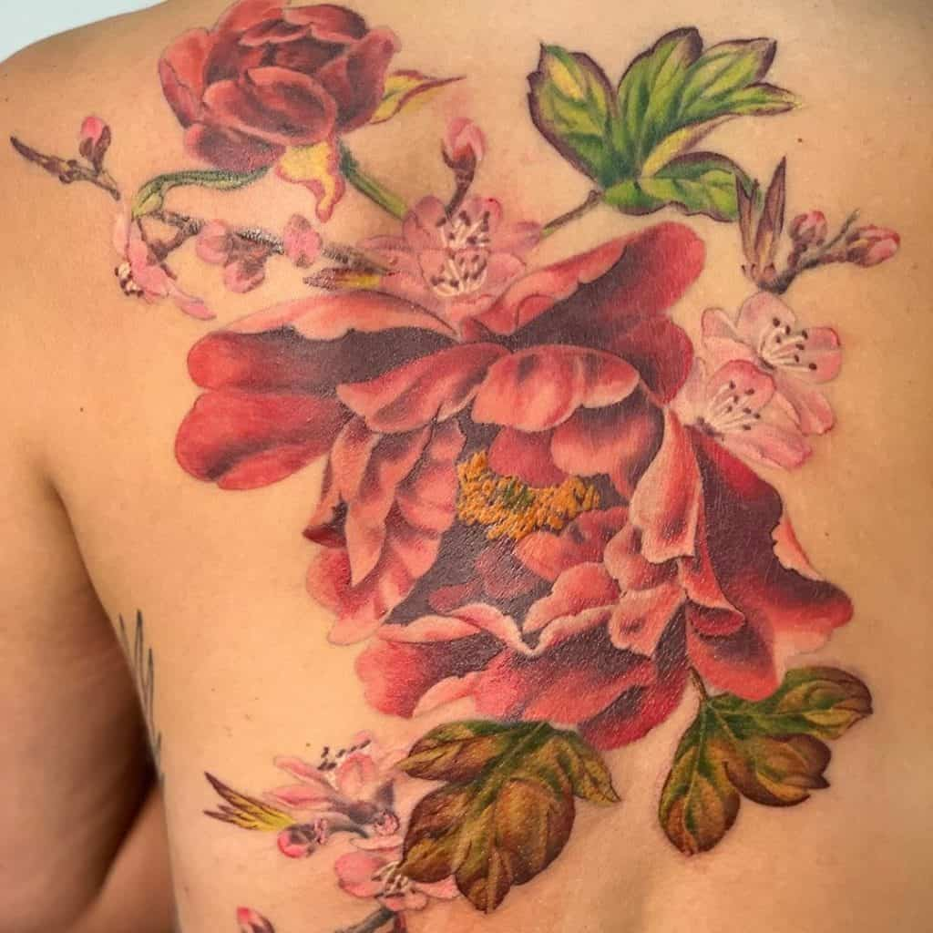 Shoulder Blade Peony Tattoo