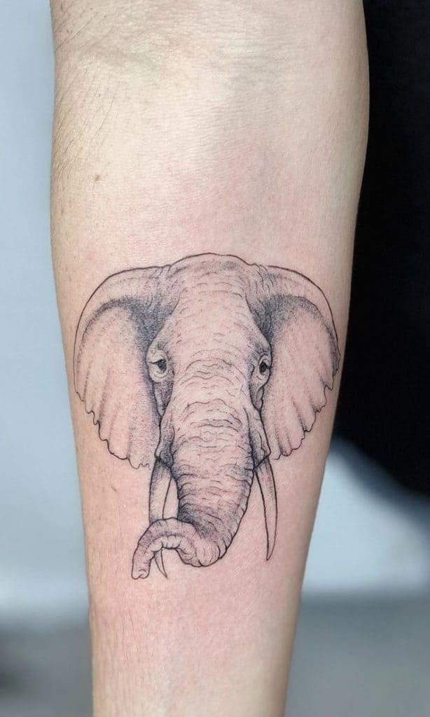 Simple Elephant Head Tattoo