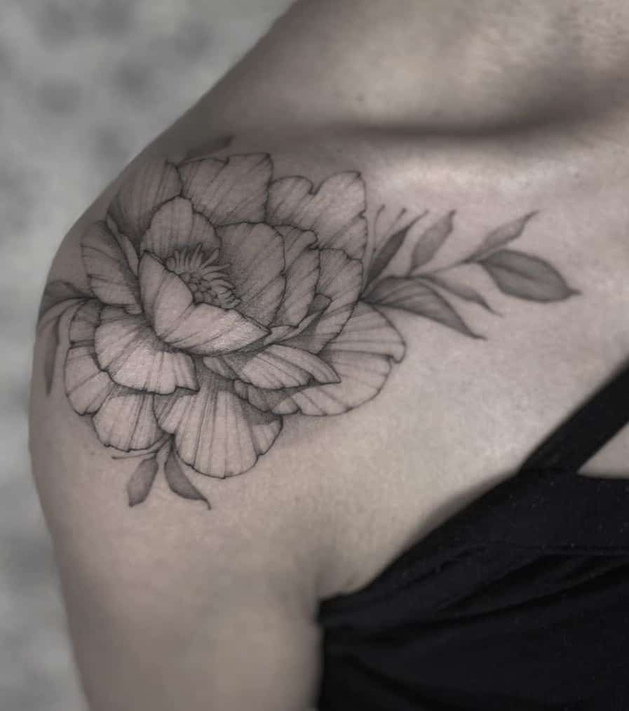 Simple Peony Tattoo