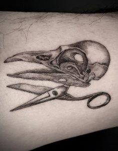 Single Needle Bird Skull Tattoo