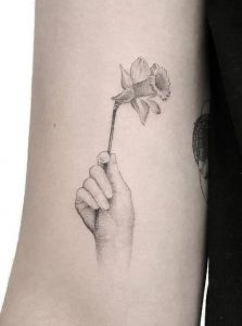 Single Needle Daffodil Tattoo