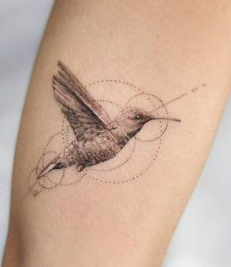 Single Needle Hummingbird Tattoo