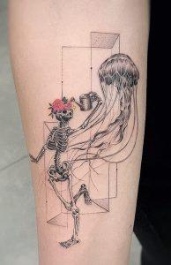 Single Needle Jellyfish Tattoo