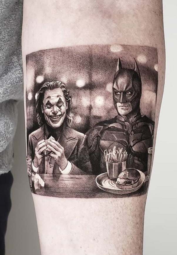 Single Needle Joker Tattoo