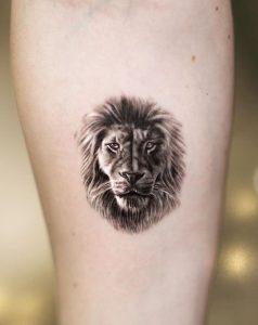 Single Needle Lion Tattoo