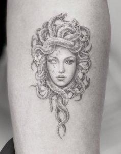 Single Needle Medusa Tattoo
