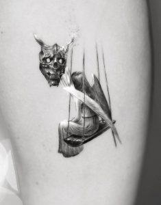 Single Needle Oni Mask Tattoo