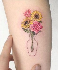 Single Needle Sunflower Tattoo