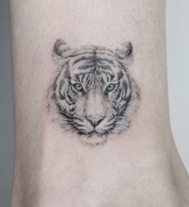 Single Needle Tiger Tattoo