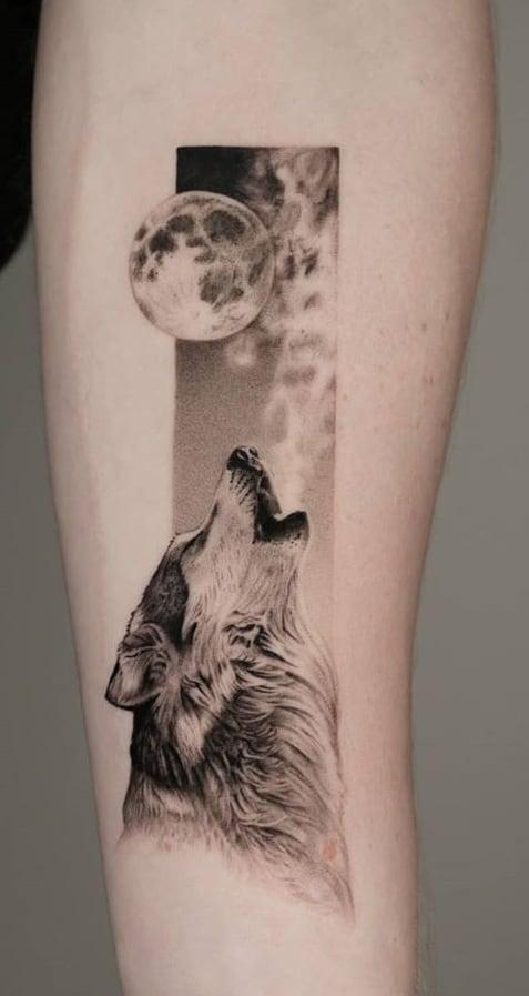 Single Needle Wolf Tattoo